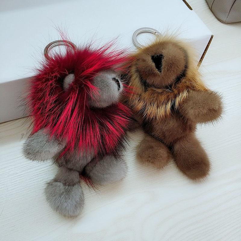 купить Fluffy Real Fur Bag Charm Genuine mink fur raccoon fur Keychain Luxury Car Jewelry Pendant P3840 по цене 5507.8 рублей