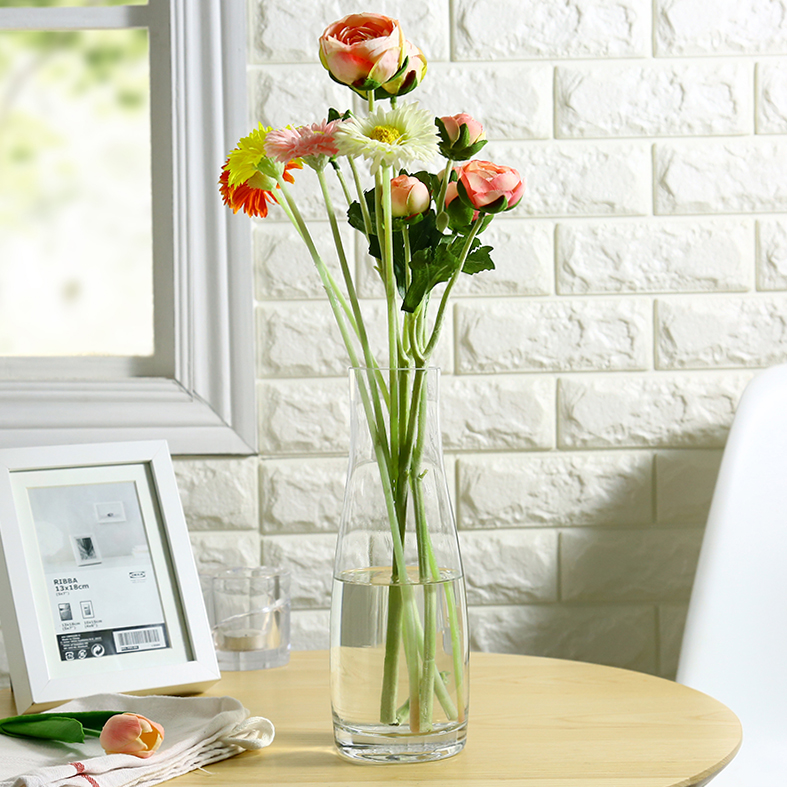ᗗModern Simple Thickening Transparent Glass Vase Lily Rose