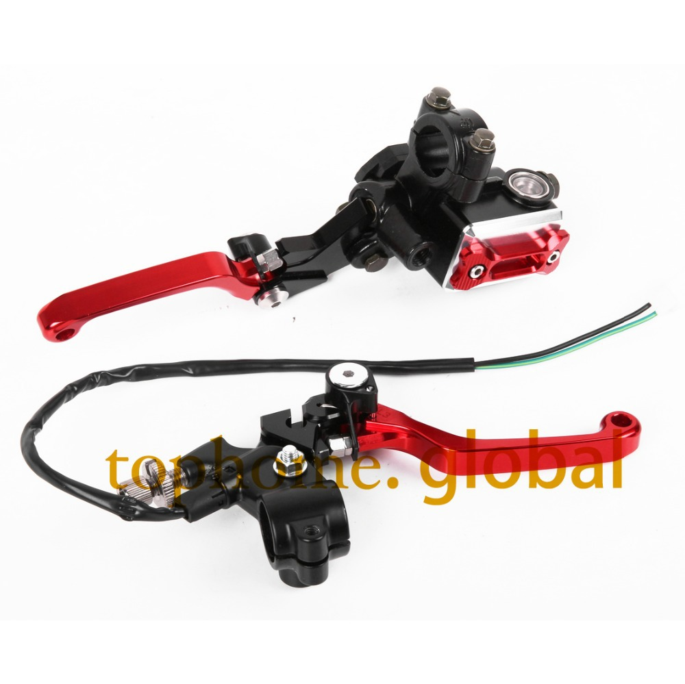 New CNC 7/8 Brake Master Cylinder Pressure Switch Reservoir Levers Dirt Pit Bike Set Red For Honda CRM250R/AR 1994-1998