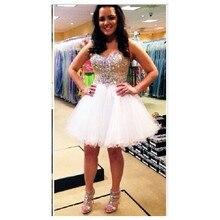 2016 heißer Verkauf A-Line Liebsten Weiß prom Kleid Mit Luxus Perlen Mini Abendkleid Benutzerdefinierte vestido de festa gala jurken