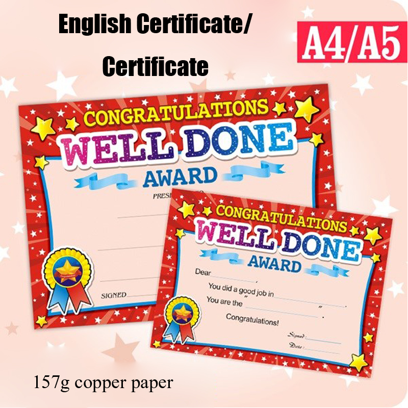 50PCS Quality English Certificate Awards Commendation Teaching Supplies Student Prizes English Training Award Certificate Paper