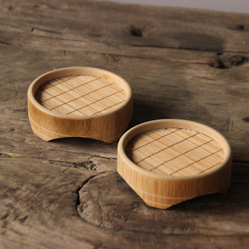 1 PC 9*3 cm Insulation Mat Pad Natural Bamboo Tea Cup Small Bowl Teapot Holder Coaster Table Decorations Gift For Friend Family