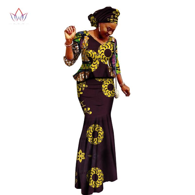 Աֆրիկյան կանանց հագուստի ապրանքանիշ Աֆրիկյան Vestido 6XL մոմ ավանդական աֆրիկյան հագուստ 2 հատ Կանանց փեշի հավաքածու ոչ մեկը 5xl WY1401