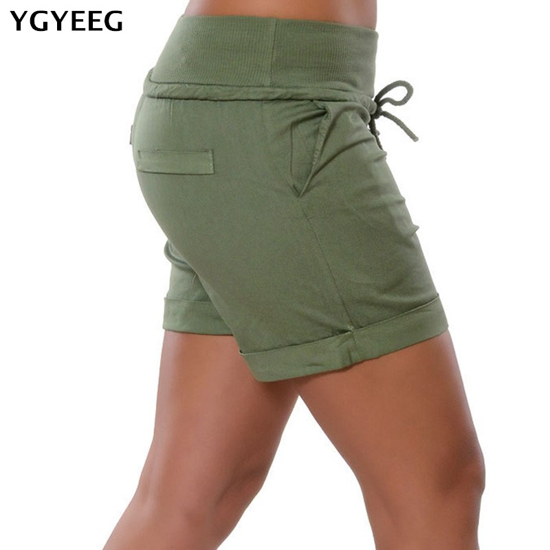 YGYEEG Summer Style   Shorts   Women Pocket Elastic With Belt   Short   Women Elastic Waist Ladies Cotton Soft   Shorts   Club Plus Size 5XL