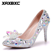 e6060c172bd8 XAXBXC 2018 New Summer Spring Rhinestone Crystal Glass Flower Pumps High  Heels Women Bride Bridesmaid Party Wedding Shoes Plus