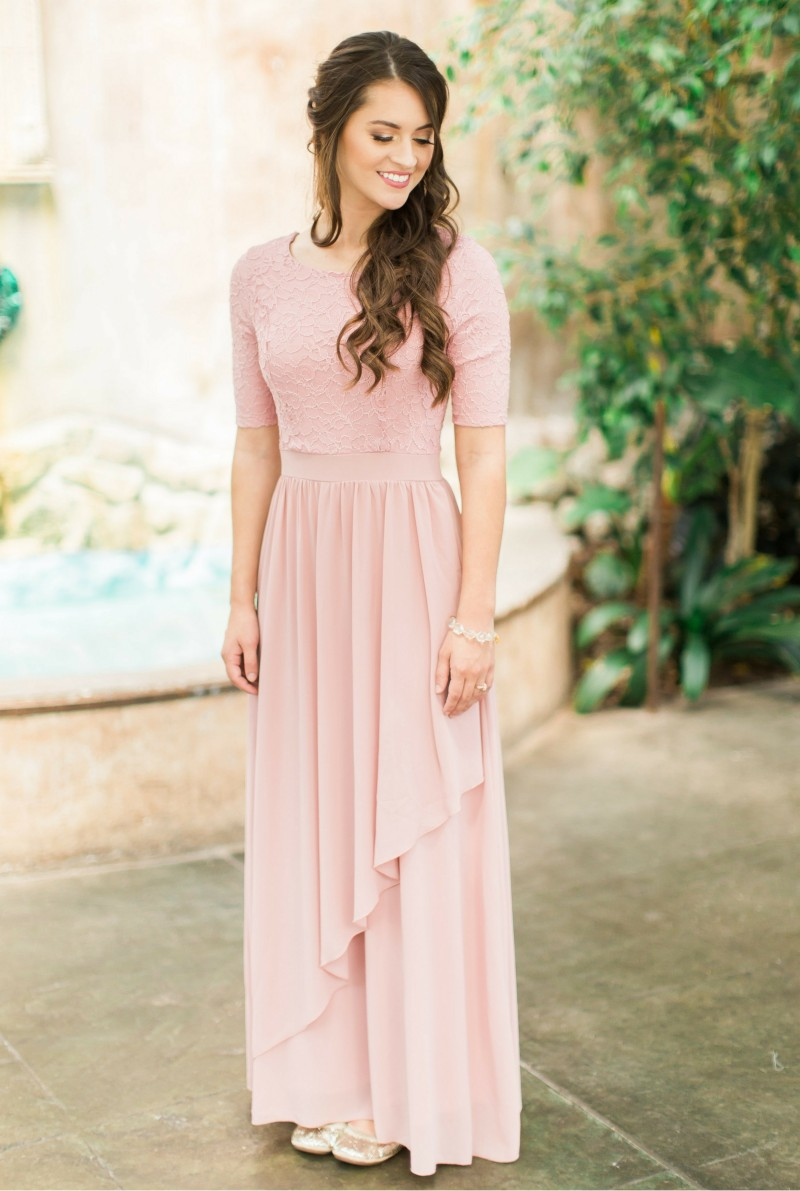 Blushing Lace Chiffon Modest   Bridesmaid     Dresses   Long With Half Sleeves A-line Country Western Formal Wedding Party   Dresses   2019