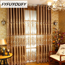High precision Embroidery European Kitchen Curtain Cloth Tulle Luxury Villa Curtains for Living Room High End