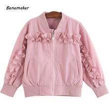 447281a3d Benemaker Bomber Jackets For Girls Autumn Children's Clothing Lace Jackets  110-160cm Windbreaker Baby Kids