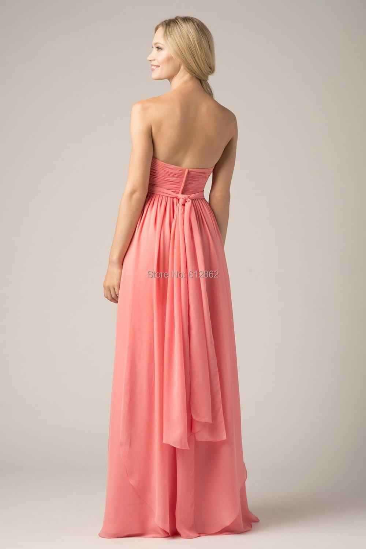 El Amor sin tirantes Plisado de Gasa Color Coral Vestidos de dama de ...