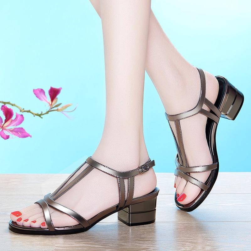 9a20e3a48 Color Aberto Sandálias Dedo Pé De Do Com Novas Femininas Salto Grosso Verão  Alto Lead branco Sapatos Da Moda Ful1K35TJc