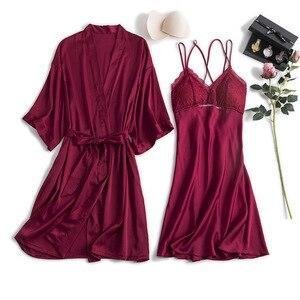 Image 3 - MECHCITIZ silk robe femme sexy gown set summer women bathrobe lingerie mini dress lounge set sleepwear bridesmaid wedding robes