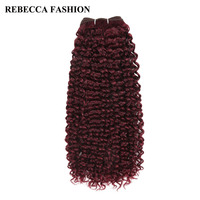 Rebecca Non Remy Brazilian Curly Weave Human Hair Bundles 113g Pre Colored Wine Red For Salon