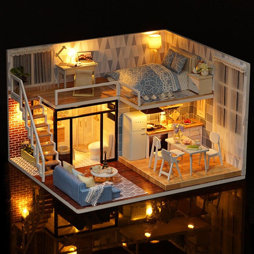 Maisons de poupée développementales en bois bricolage cadeau de noël Kit de meubles assemblés à la main jouets miniatures pour enfants