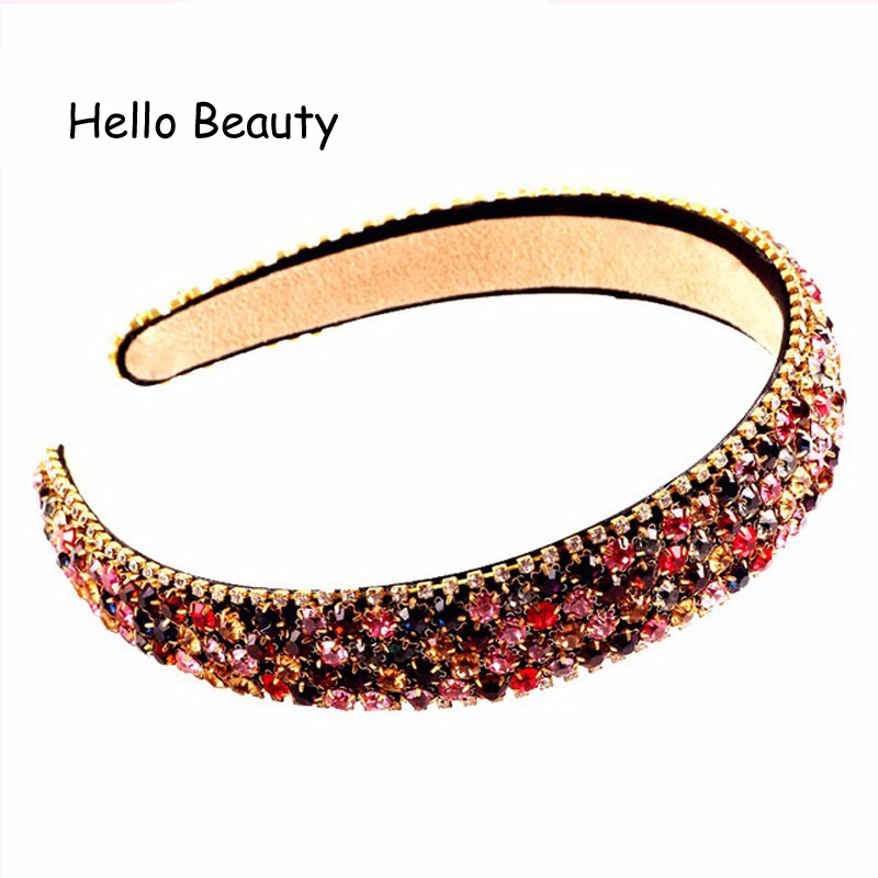 Sparkly Luxurious Hot Fashion Korean Women's Trendy Hair Accessories Jewelry Colorful Crystal Rhinestone Headbands Hairband trendy rhinestone faux pearl hairband for women