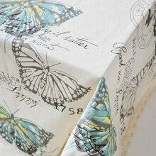 Ropa caliente de la venta butterfly patter impreso paño de tabla pastoral del borde del cordón a prueba de polvo mantel rectangular envío gratis