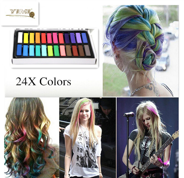 1 Set 24 Colors Non Toxic Temporary Pastel Hair Square Hair Dye