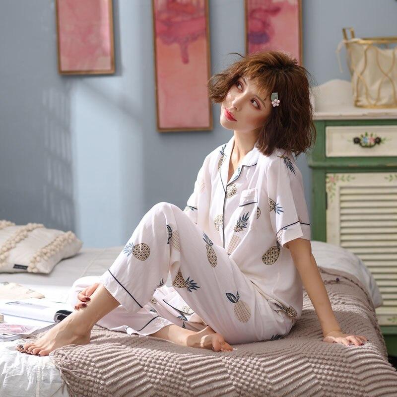 Ananas print 2019 été pyjama ensemble femmes coton pijama pour femme à manches courtes pleine longueur pantalon de nuit femme PHOENTIN FG032