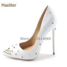 0f31c258f Gracioso Rebites Pointed-toe Bombas de Salto Alto Mulheres Sexy Vestido  Preto Branco Ouro Rebites Sapatos Gladiador 10 cm 12 cm .