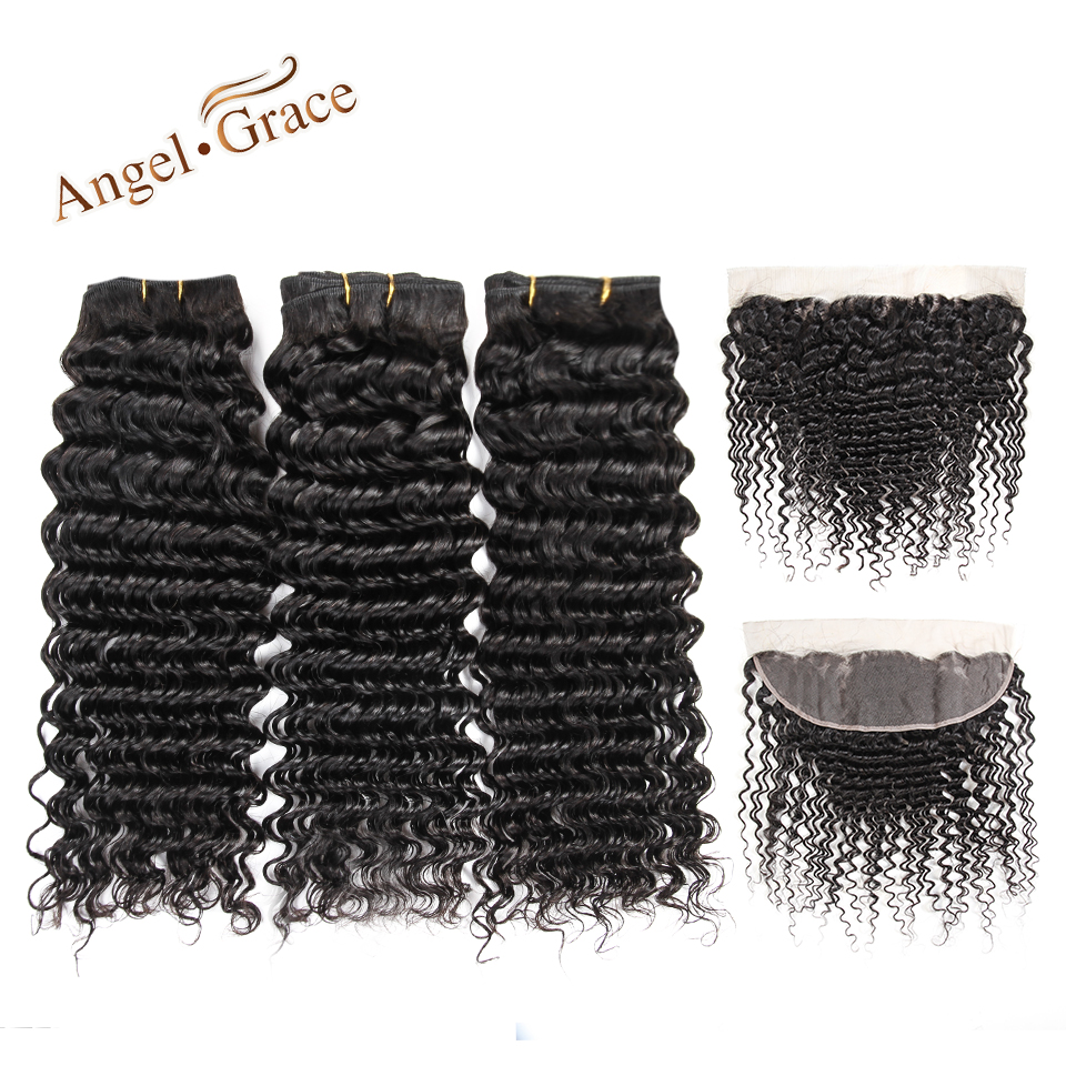 Angel Grace Hair Bundles Brazilian Deep Wave Hair Bundles With Closure Frontal Ear To Ear Lace Frontal And 3 Bundles Remy Hair