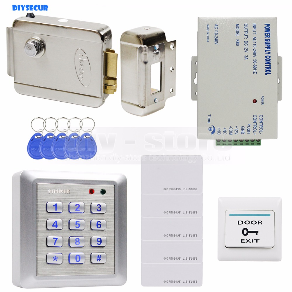 DIYSECUR Waterproof RFID Keyboard Access Control Full Kit Set + Electric Lock+ Exit Button Brand New diy lock system metal keypadl k2 electric control lock 3a power supply exit button 10pcs key cards wireless remote control