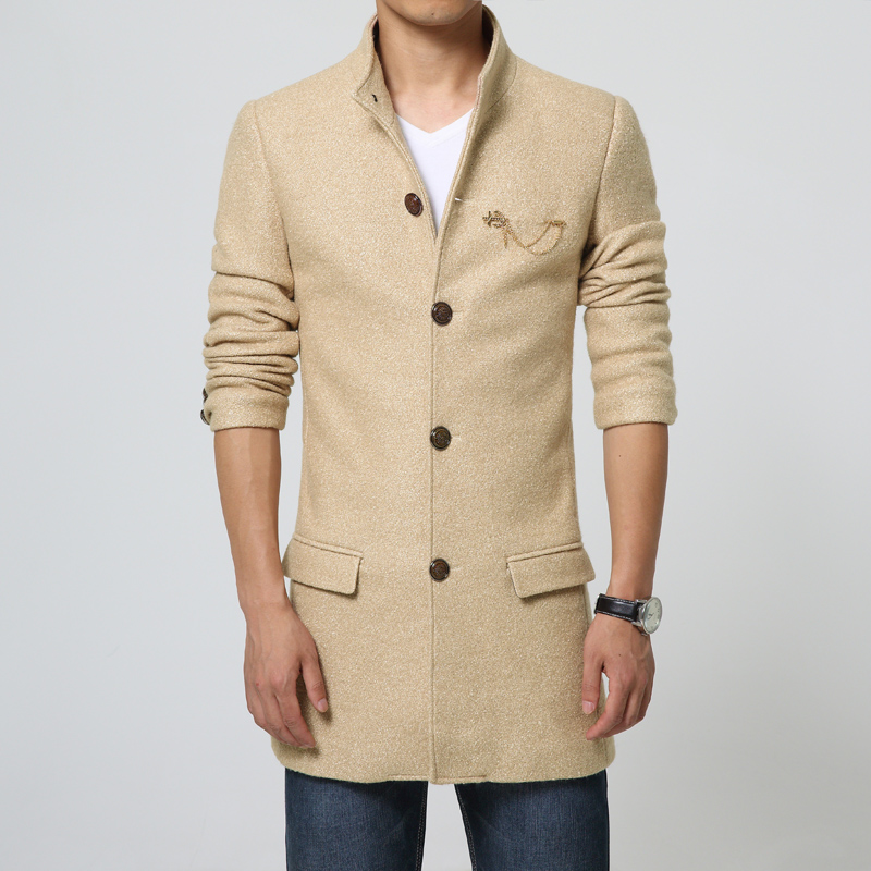 Men long Trench coat Classic blue Overcoat thick fall winter ...