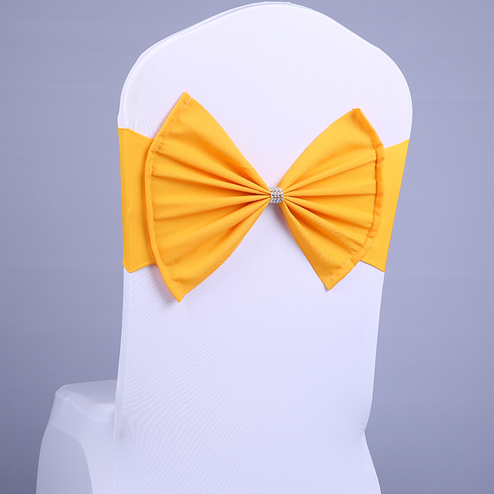 New 1 Pcs Wedding Chair Sash BIG Bow Acrylic Chair Cover Band Elastic Chair Sashes Spandex Cover Chair Decorations Event Party