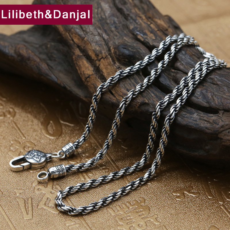 Men Necklace 100 Real 925 Sterling Silver 3mm Thick Buddhist Heart Sutra Rope Chain Pendant Necklace