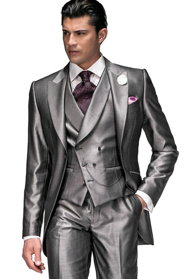 New Arrival One Button Silver Gray Groom Tuxedos Groomsmen Men's Wedding Prom Suits Custom Made (Jacket+Pants+Vest+Tie) K:398