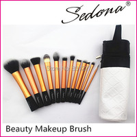 Sedona Brand 12pcs Professional High Quality Makeup Brush Set With Cylinder Case Synthetic Hair Brush Set