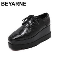 BEYARNE 2018 Spring Oxfords Shoes For Women Black Platform Lace Up Star creepers Women's Oxfords Shoes Casual Ladies Flats Shoes