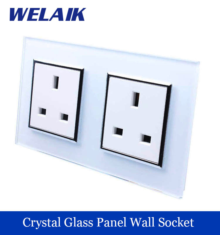 WELAIK  Glass Panel Wall British Standard Socket Wall Outlet White Black British UK  power outlet AC110~250V A28U8UW/B  цены