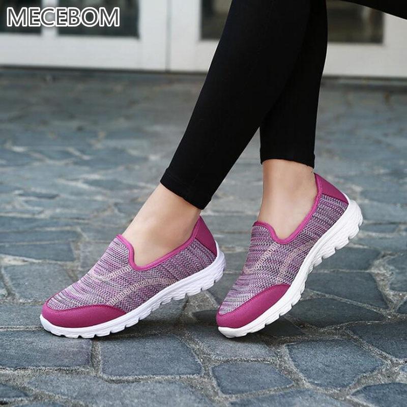 2018 Summer Hollow Mesh Camping Flat Heel Wedge Platform Sneakers Sport Shake Loafer Women Shoes Footwear Zapatillas Mujer 1603W