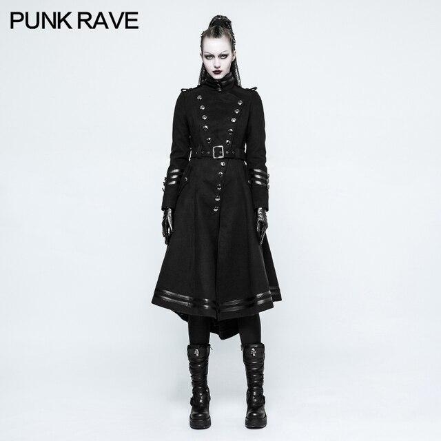 PUNK RAVE Fashion Women Casual long Jacket Gothic Punk Military Uniform  Worsted Long Coat Rock Cosplay