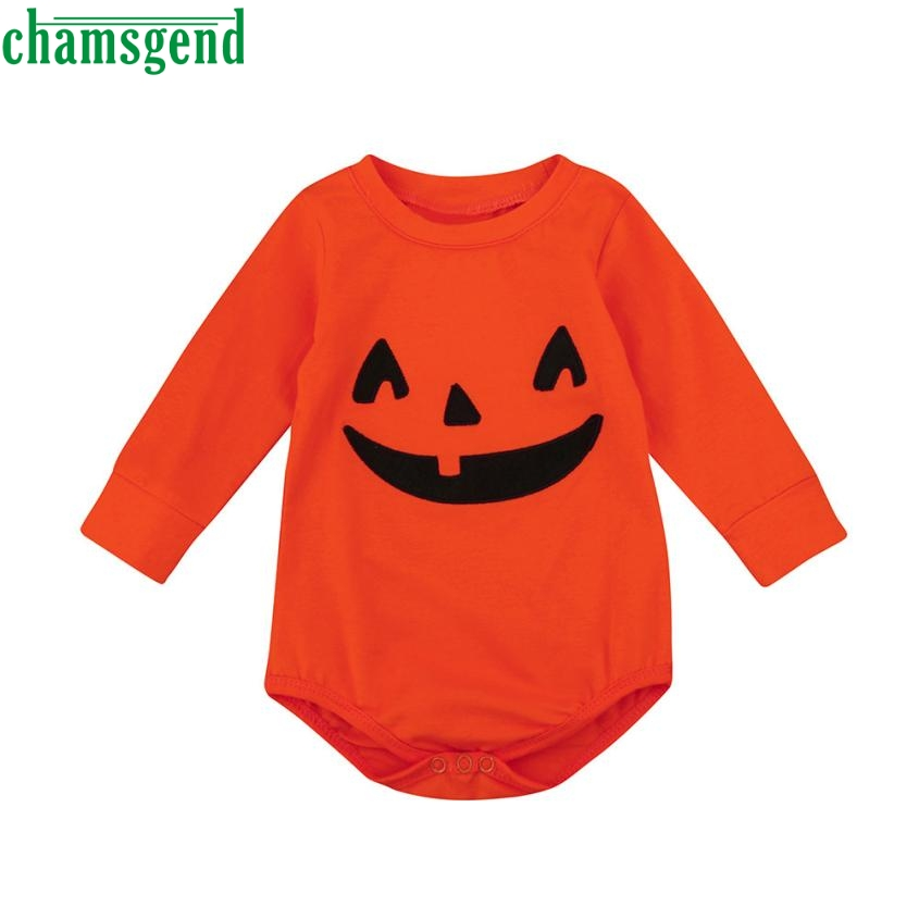 Triangle climb clothes Orange Fashion Infant Baby Boys Girls Halloween Animal Full Cotton Pumpkin Long Sleeve Romper Jumpsuitp30