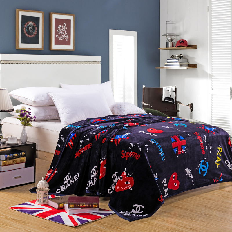 New Soft Flannel Blanket Thick Bedding Throws Flag Print Bedspread Bed Sheet Double Layers Fashion Shopping Street Blanket Adult classic knitted cotton plaid double plies bedding throws blanket double size wearable for bath bedding