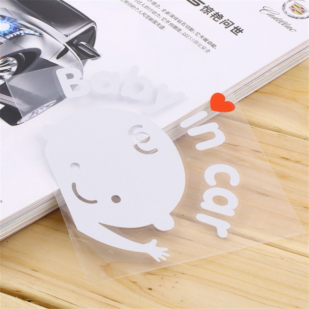 3D Cartoon Car Stickers Reflective Vinyl Styling Baby In Car Warming Cute Car Sticker Baby on Board On Rear Windshield hot sell