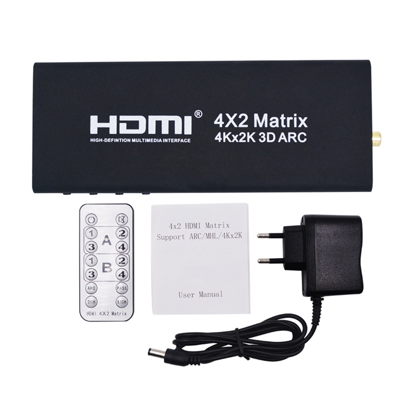 все цены на 2017 New Arrival HDMI Matrix Switch 4Kx2K HDMI Switcher Splitter Converter Adapter with Remote Control  Support 4K*2K 1080P онлайн