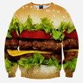 Venda quente Dos Homens/Mulheres Hoodies Hamburger Pullovers 3d impressão Casaco Com Capuz da Camisola Dos Homens de Roupas casuais