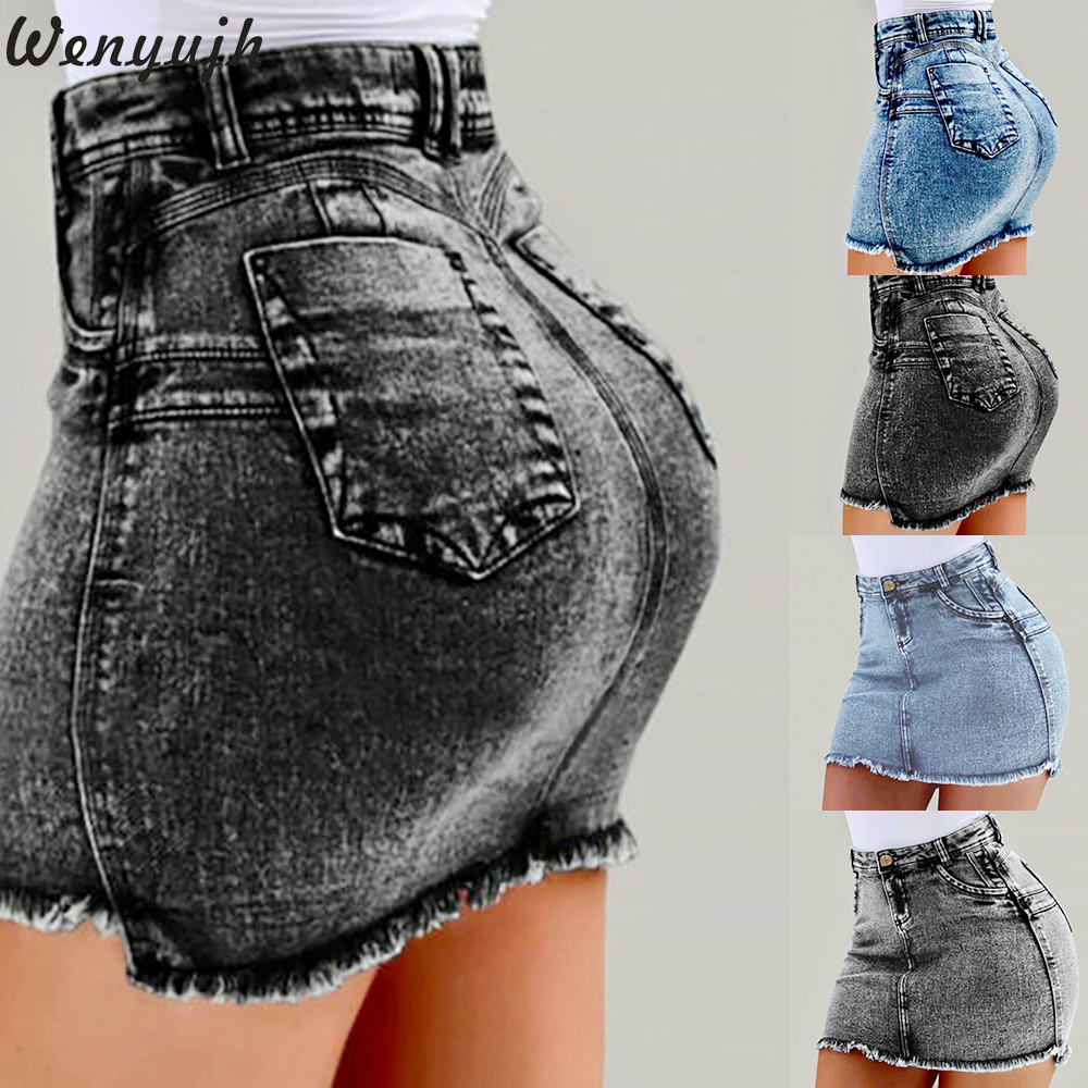 Wenyujh 2019 Women Washed Frayed Mid Waist Jean Sexy Denim Skirt Mini Skirts Women Pockets A-Skirt Girls Casual Fashion Skirt