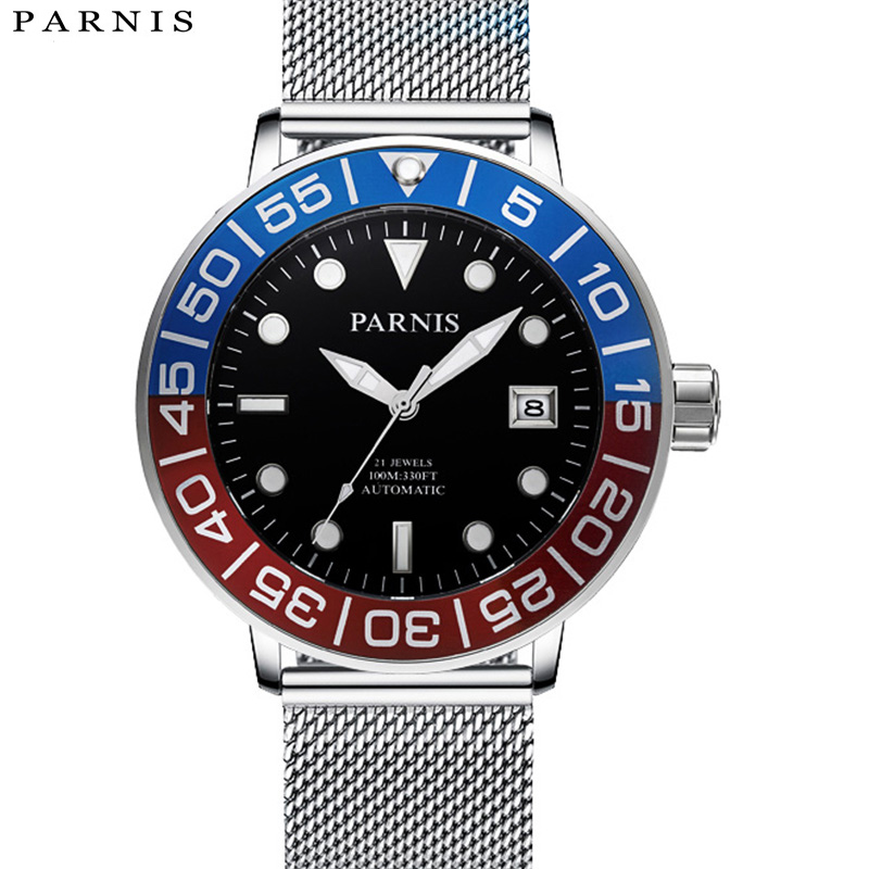New Arrival 2017 Mens Automatic Watch Parnis Luminous Stainless Steel Mesh Band 100m Waterproof Mechanical Watches OrologioNew Arrival 2017 Mens Automatic Watch Parnis Luminous Stainless Steel Mesh Band 100m Waterproof Mechanical Watches Orologio
