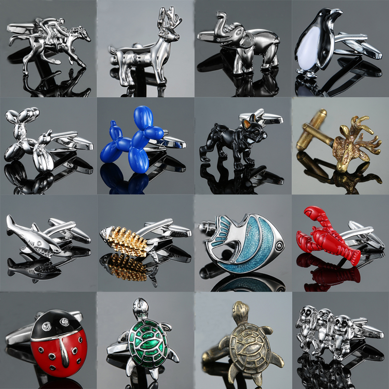 Fashion Men's New Arrival Animal Cufflinks Novelty Black Dog Fish Deer Tortoise Design Gift For Men Cuff Links Wholesale&retail