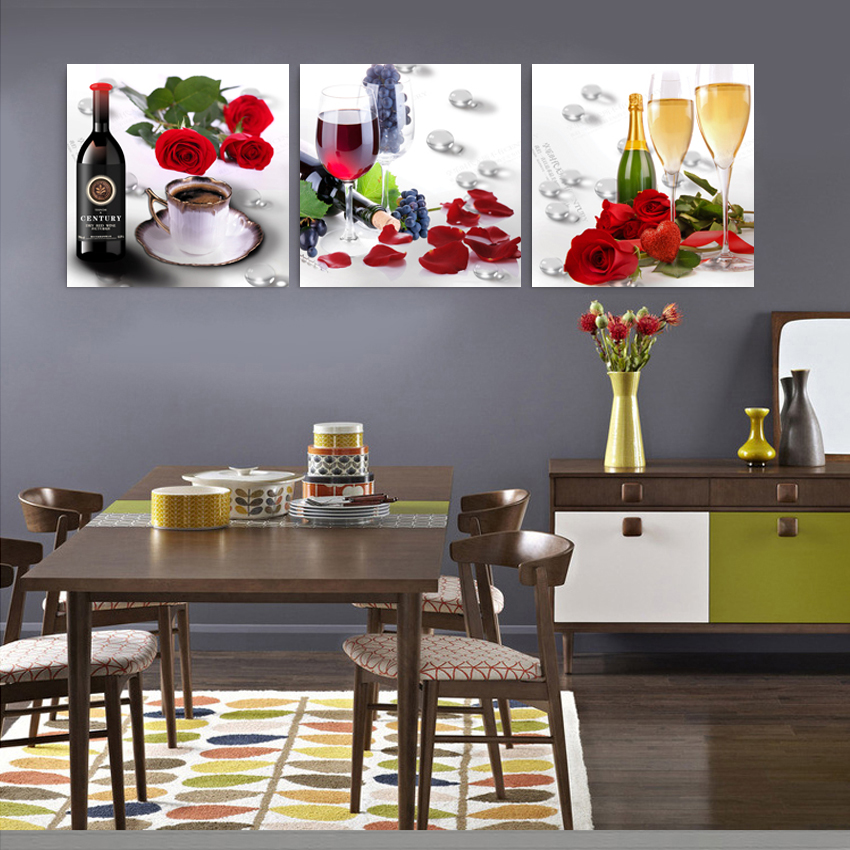 Cuadros Home Decoration 3 Panels Cheap Modern Flower And