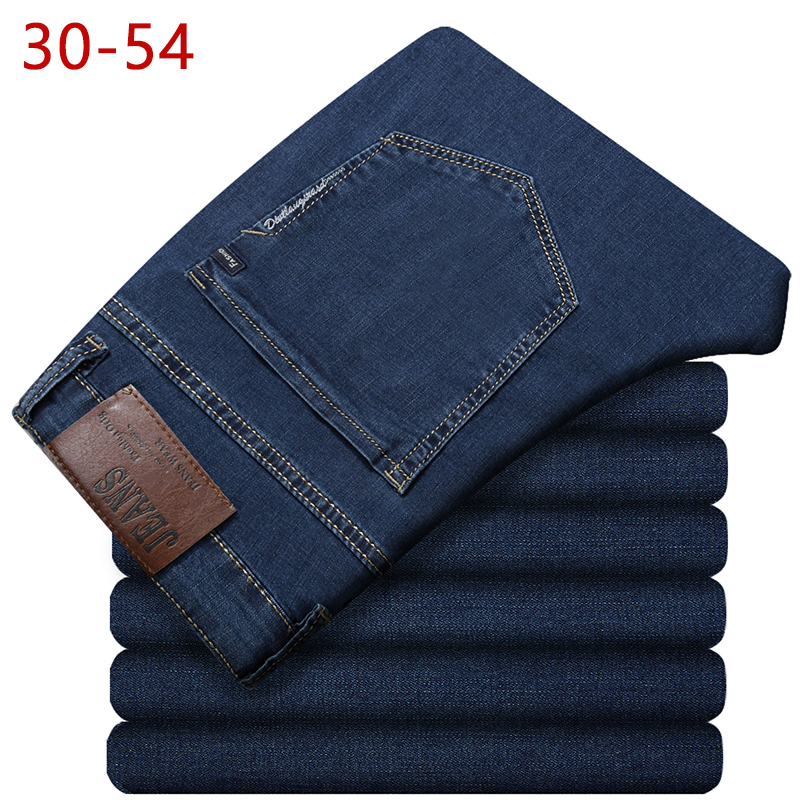 30-54 Big Size Classic Baggy Men   Jeans   2018 New Spring Autumn Male Casual Solid Straight Zipper Long Stretch Varsity Denim Pants