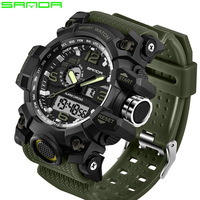 2017 SANDA Sports Watches Men Military Army Watch Top Brand Luxury Date Calendar LED Digital Wristwatches