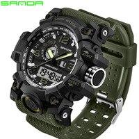 2017 SANDA Sports Watches Men Military Army Watch Top Brand Luxury Date Calendar LED Digital Wristwatches
