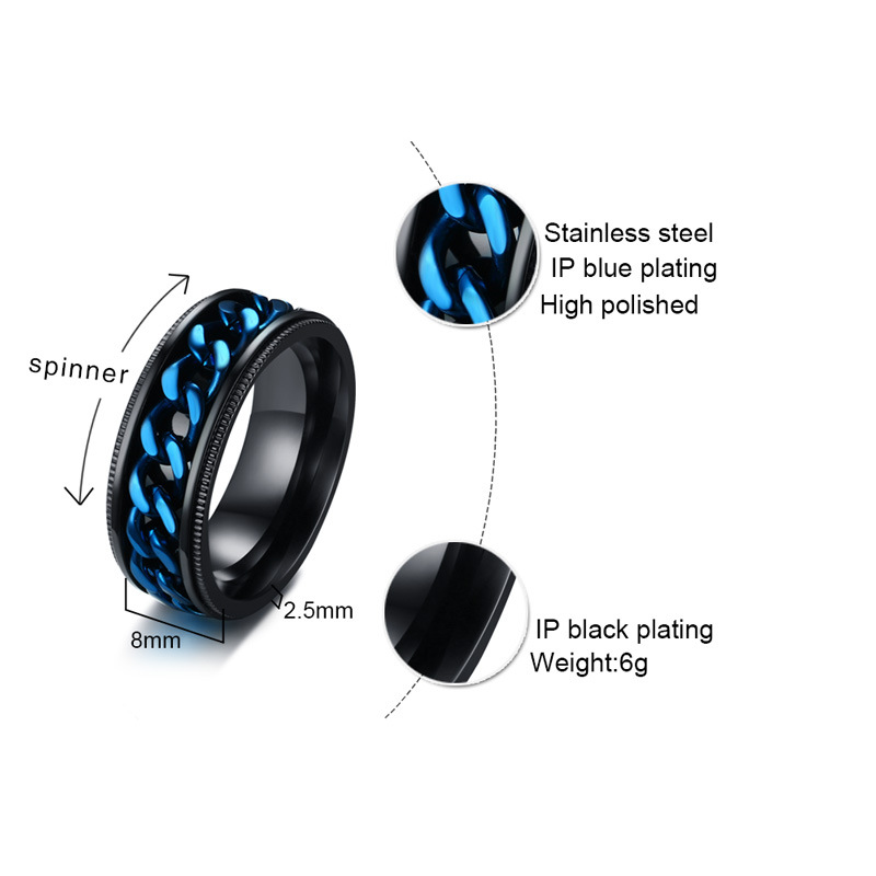 Jewelry & Accessories Fashion 8mm Black Biker Ring Male Spinner Blue Chain Ring Mens Stainless Steel Wedding Rings For Men Jewelry Party Gift R-396 And To Have A Long Life.