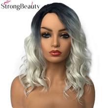 StrongBeauty Sentetik Peruk Kadın Peruk Uzun Dalgalı Gri Peruk Sürükle Kraliçe Peruk Saç Parçaları Kadınlar Için