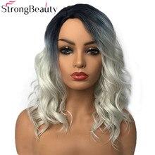 StrongBeauty วิกผมสังเคราะห์ผู้หญิง Wigs Long Wavy Wigs สีเทาลาก Queen Wigs Hairpieces สำหรับผู้หญิง