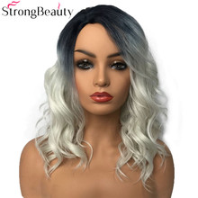 StrongBeauty peruka syntetyczna peruki damskie długie faliste szare peruki Drag Queen peruki treski dla kobiet