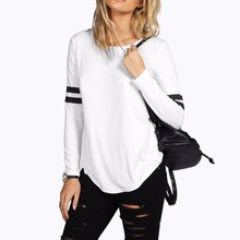 Sexy Hipster Casual Otoño de Manga Larga Floja Camiseta de Las Mujeres señora camiseta Blanca Túnica Superior Femenina Camiseta Ropa Pullover 2016